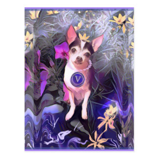 "Parisian Purple Pooch ""V"" Monogram Postcard"