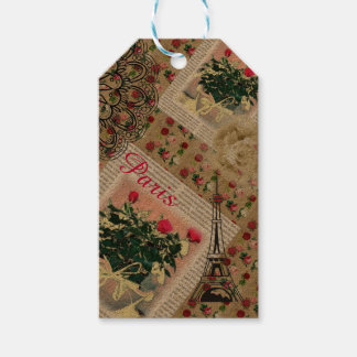 Parisian Rose Collage Tags for gift giving.