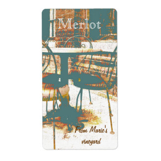 Parisian street cafe chairs shipping label
