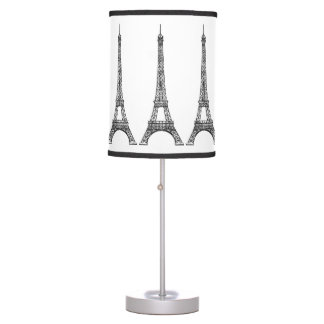 Parisian Theme Eiffel Tower Black and White Table Lamp
