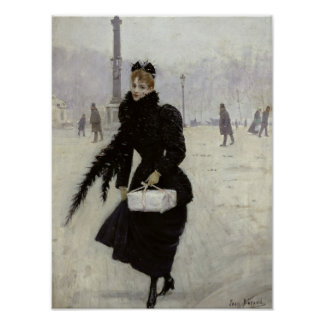 Parisian woman in the Place de la Concorde Poster