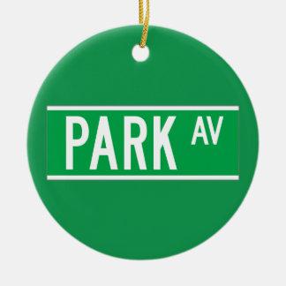 Park Av., New York Street Sign Ceramic Ornament