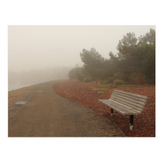 Park Bench in the Fog Postcard
