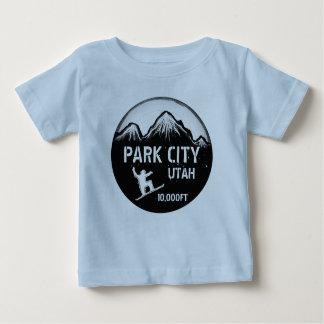 Park City Utah blue snowboard art baby tee
