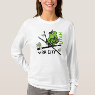Park City Utah green skier ladies hoodie