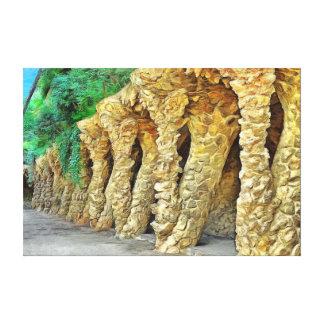 Park Güell. Columns of Gaudi. Canvas Print