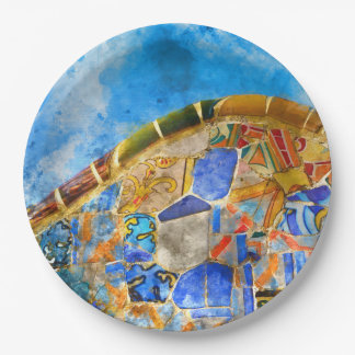 Park Guell in Barcelona Spain 9 Inch Paper Plate