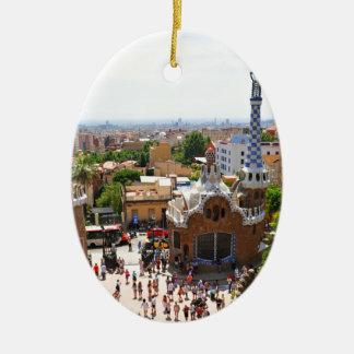 Park Guell in Barcelona, Spain Ceramic Ornament