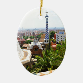 Park Guell in Barcelona, Spain Ceramic Oval Ornament