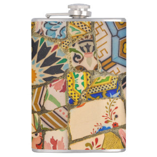 Park Guell in Barcelona Spain Hip Flask