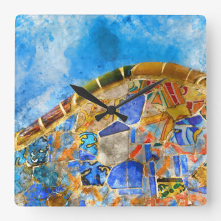 Park Guell in Barcelona Spain Square Wall Clock