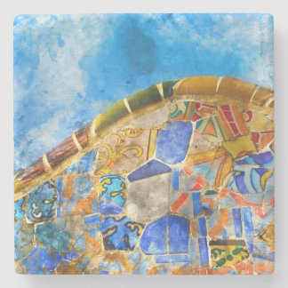 Park Guell in Barcelona Spain Stone Coaster