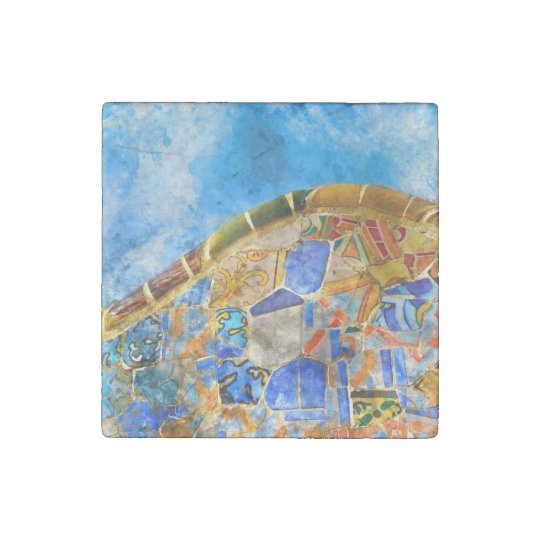 Park Guell in Barcelona Spain Stone Magnets