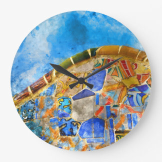 Park Guell in Barcelona Spain Wall Clock