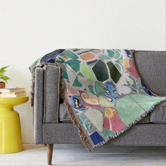 Park Guell mosaics Throw Blanket