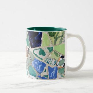 Park Guell mosaics Two-Tone Coffee Mug