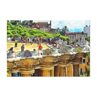 Park Güell. View of the central terrace. Canvas Print