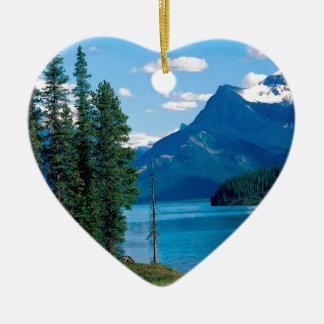 Park Maligne Lake Jasper Alberta Canada Ceramic Heart Ornament