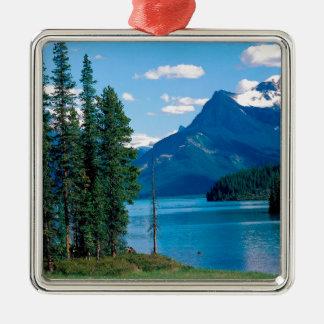 Park Maligne Lake Jasper Alberta Canada Silver-Colored Square Ornament