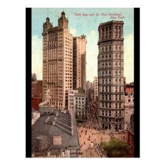Park Row, St. Paul Buildings NYC c1915 Vintage Postcard