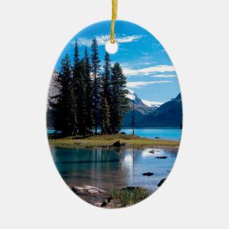 Park The Great Outdoors Jasper Alberta Canada Ceramic Oval Ornament