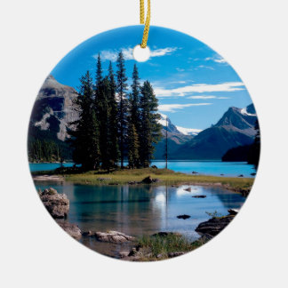 Park The Great Outdoors Jasper Alberta Canada Round Ceramic Ornament