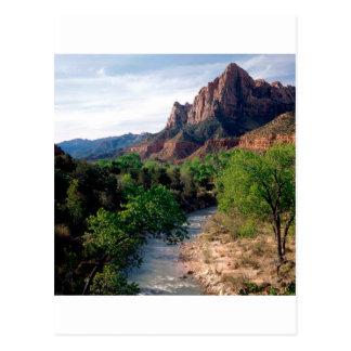 Park Virgin River The Watchman Zion Utah Postcard