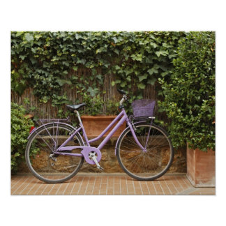 Parked bicycle, Pienza, Italy, Tuscany Poster