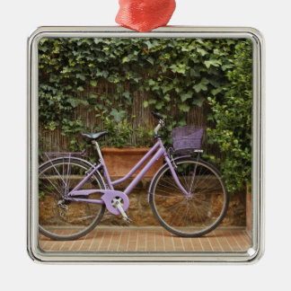 Parked bicycle, Pienza, Italy, Tuscany Silver-Colored Square Ornament