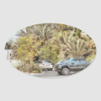 Parked vehicles oval sticker