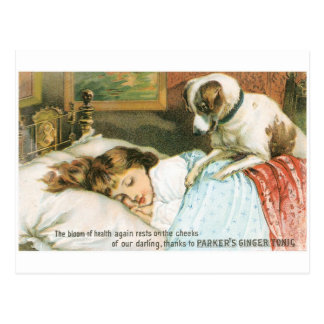 Parkers Ginger Tonic Sleeping Girl with Dog Postcard