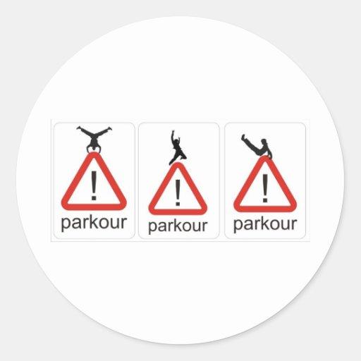 parkour awesomenesss round sticker
