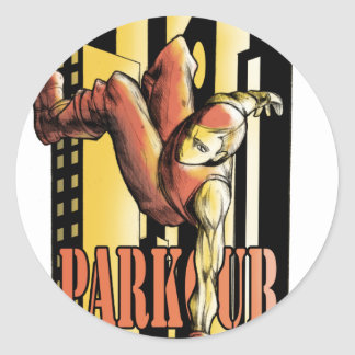 parkour classic round sticker