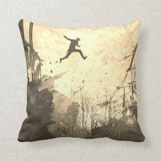 Parkour Urban Free Running Freestyling Art Sepia Throw Pillow