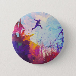 Parkour Urban Free Running Freestyling Modern Art 2 Inch Round Button
