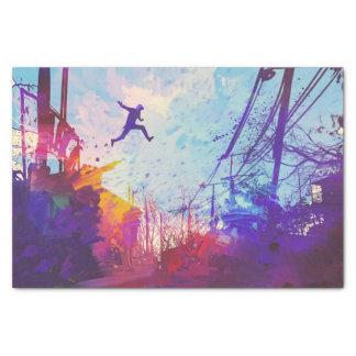 Parkour Urban Free Running Freestyling Modern Art Tissue Paper