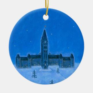Parliament Buildings Ottawa Christmas Round Ceramic Ornament