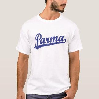 Parma script logo in blue distressed T-Shirt