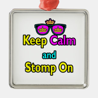 Parody Hipster Keep Calm And Stomp On Metal Ornament