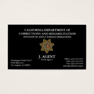 Parole Agent Business Card in Black