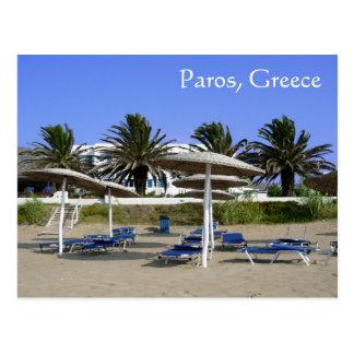 Paros Island, Greece Beach Umbrellas Postcard
