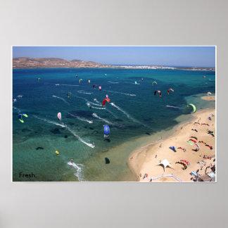 Paros Kite beach Poster