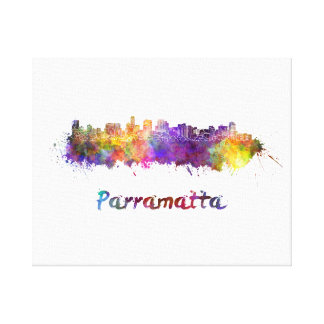 Parramatta skyline in watercolor canvas print