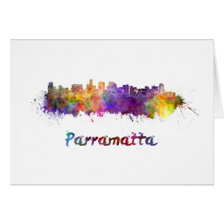 Parramatta skyline in watercolor card
