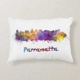 Parramatta skyline in watercolor decorative pillow