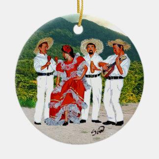 Parranda Jíbara Round Ceramic Ornament