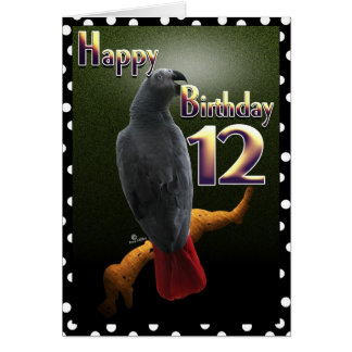 Parrot African Gray /grey Happy 12 Birthday Avian Card