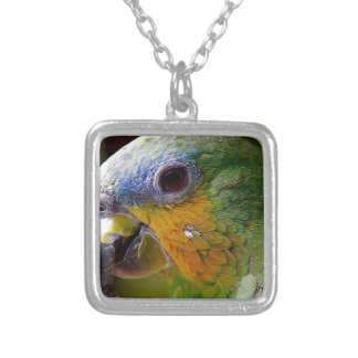 Parrot Amazon Animals Bird Green Exotic Bird Silver Plated Necklace