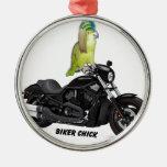 Parrot Biker Chick on Harley Davidson Christmas Ornaments