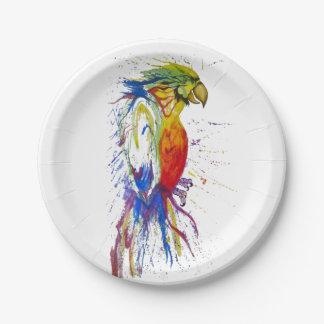 Parrot Budgie Bird 7 Inch Paper Plate